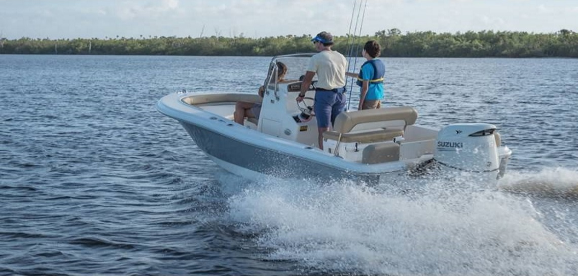 a family on a 2019 Pioneer Boat Islander 180