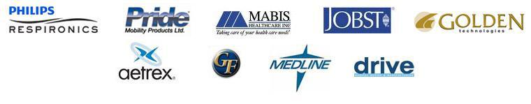 We proudly carry products from Philips, Pride, Mabis Healthcare Inc., JOBST, Golden technologies, Aetrex, GF, Medline, and Drive.