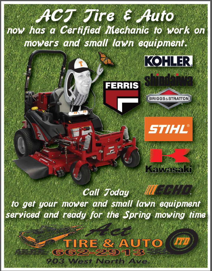 Act Tire & Auto. let our certified mechanics get your lawn mowers and small lawn equipment ready.