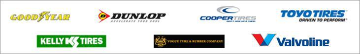We carry Goodyear, Dunlop, Cooper, Toyo, Kelly, Vogue, and Valvoline products.