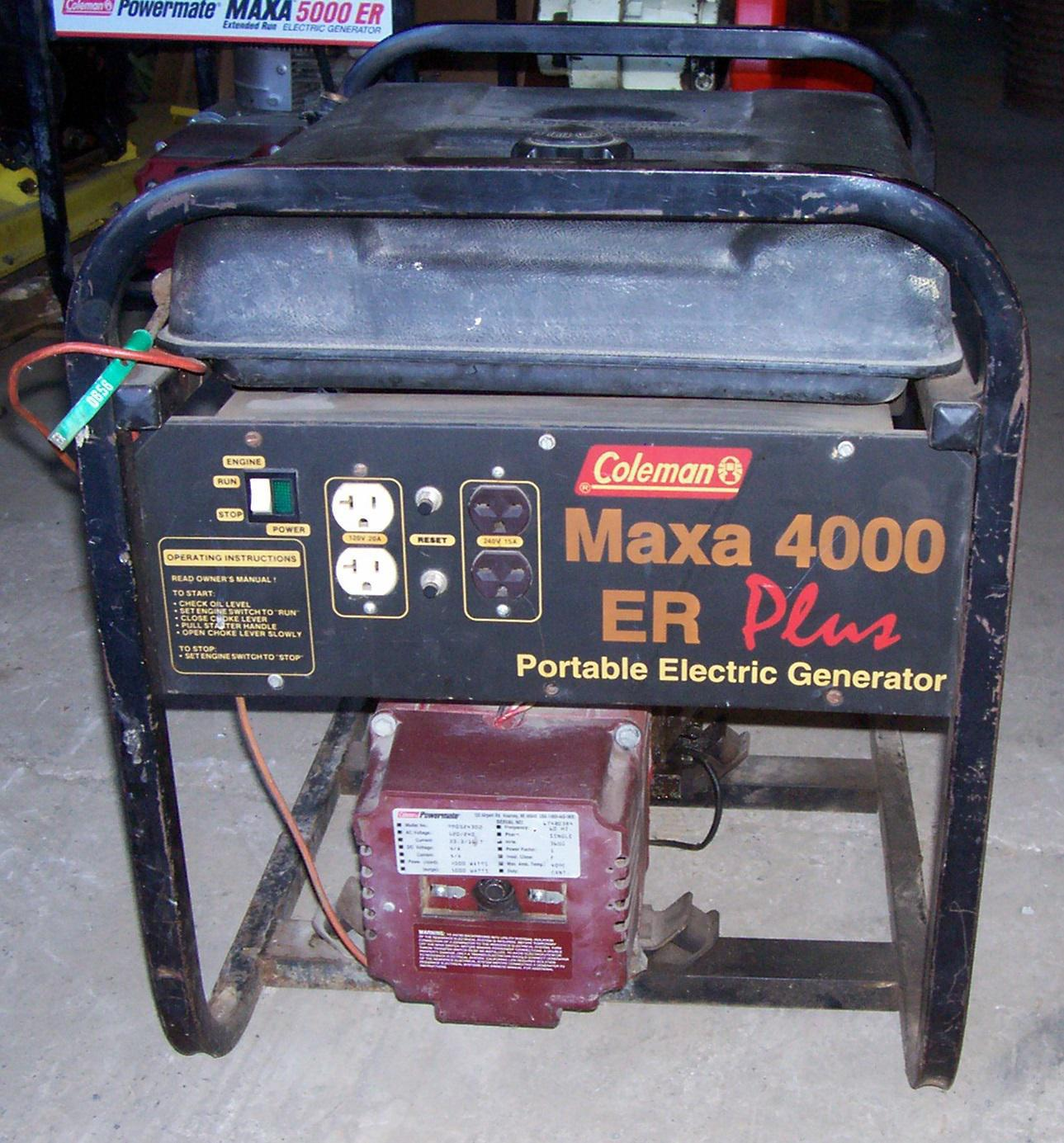 Coleman Maxa 4000 Er Plus For Sale In New Tripoli Pa Coleman Maxa 4000 Er Plus For Sale In New Tripoli Pa Kermit K Kistler Inc New Tripoli Pa 610 298 2011