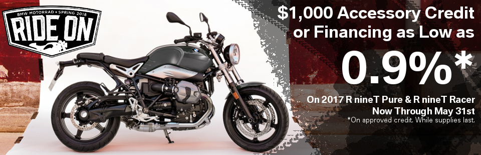 BMW's cleanest motorcycles, the R nineT is just a canvas waiting to be customized. Start your dream build today with amazing offers!