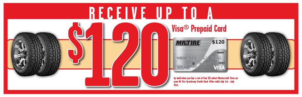 Receive up to a $120 Visa Prepaid Card when you purchase 4 select Mastercraft Tires