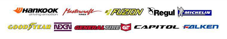 We carry products from Hankook, Mastercraft, Fuzion, Regul Tires, Michelin®, Goodyear, Nexen, General, Capitol,  and Falken.