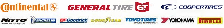 We proudly carry products from brands such as Continental, General Tire, CooperTires, Nitto, Michelin®, BFGoodrich®, Goodyear, Toyo Tires, Yokohama, and Pirelli.