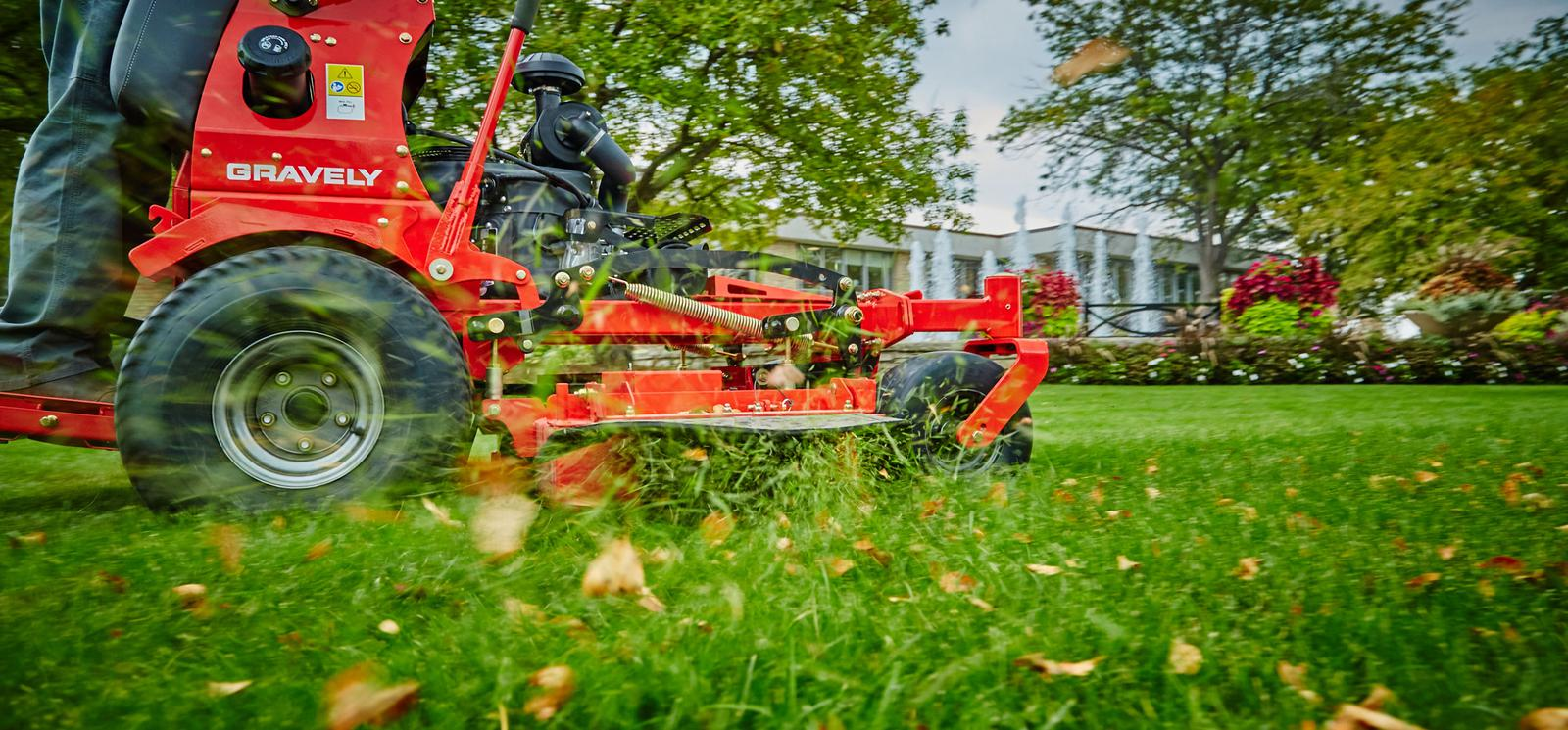 Closeup of a Gravely lawn tractor