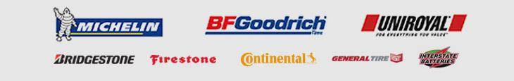 We proudly carry Michelin®, BFGoodrich®, Uniroyal®, Bridgestone, Firestone, Continental, General, and Interstate Batteries.