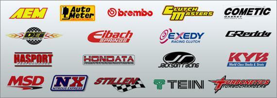 AEM, Auto Meter, Brembo, Clutch Masters, Cometic, DEI, Eibach Springs, Exedy, GReddy, Hasport, Hondata, Jackson Racing, KYB, MSD, Nitrous Express, Stillen, Tein, and Turbonetics.