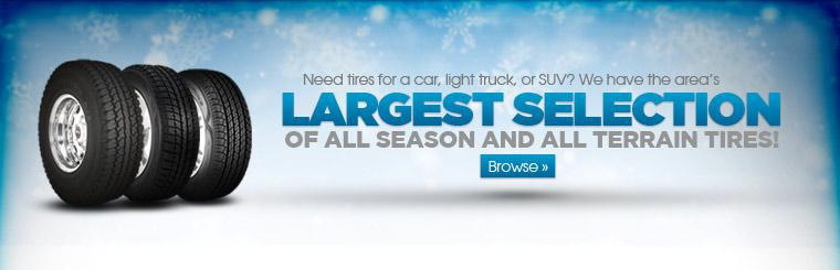 The Area's Largest Selection of All Season and All Terrain Tires