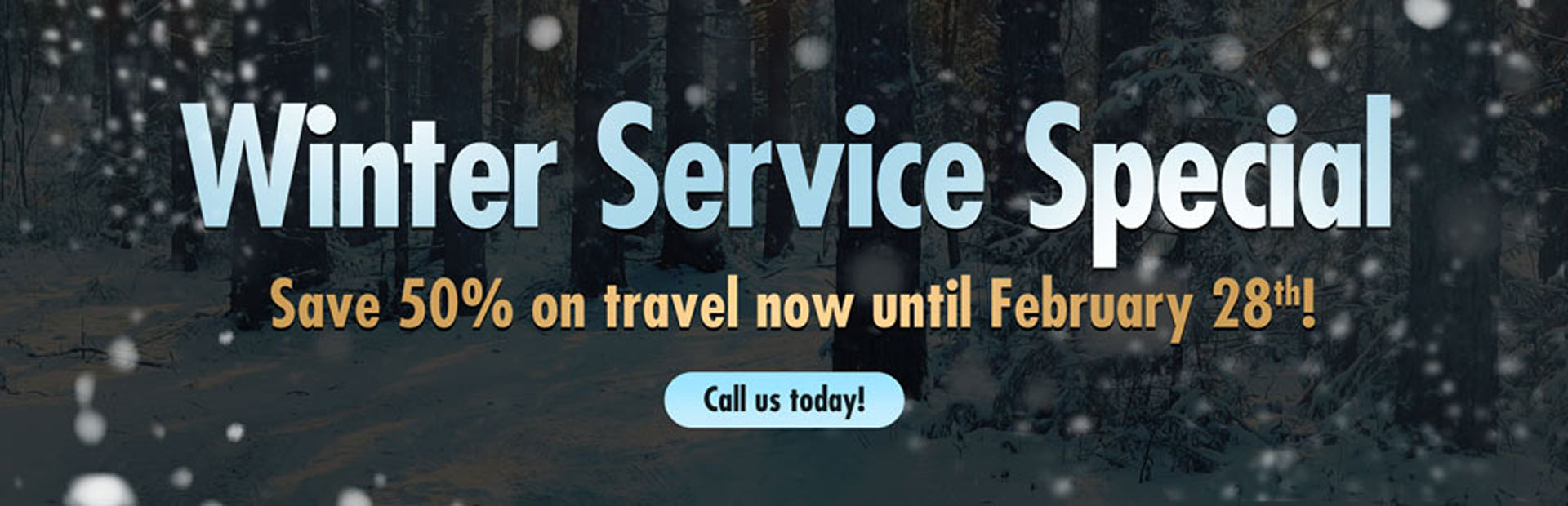 Winter Service Special: Save 50% on travel now until February 28th! Call 913-268-4288 today!
