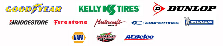 We proudly carry products from Goodyear, Kelly, Dunlop, Bridgestone, Firestone, Mastercraft, Cooper, Michelin®, Napa Batteries, Interstate Batteries, and AC Delco.