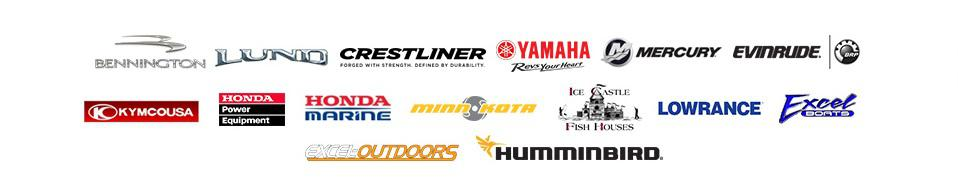We carry products from Bennington, Lund Boats, Crestliner, Yamaha Outboards, Mercury, Envirude, Kymco, Honda Power Equipment, Honda marine, Minn Kota, Ice Castle fish houses, Lowrance, Excel boats, Excel Outdoors and Hummingbird