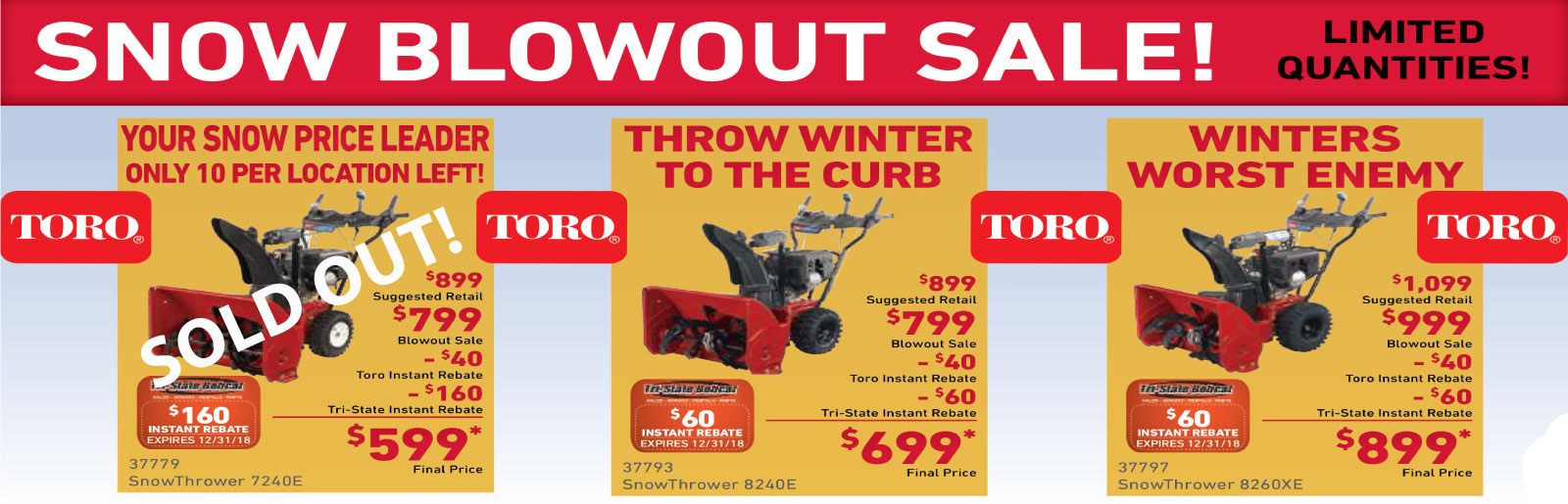 Toro Snow Blowout Sale
