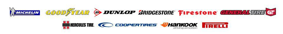 We carry products from Michelin®, Goodyear, Dunlop, Bridgestone, Firestone, General, Hercules, Cooper, Hankook, and Pirelli.
