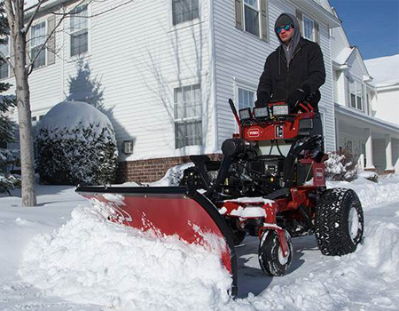 Pushing snow with Toro equipment
