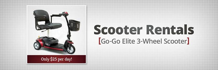 Rent the Go-Go Elite 3-wheel scooter for only $25 per day! Contact us for details.