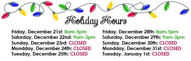Closed Christmas Eve, Christmas Day, New Years Eve and New Years Day