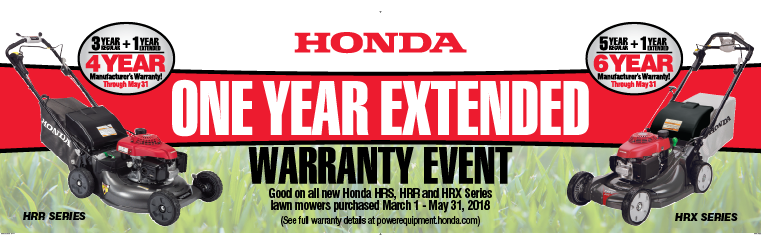 4 Year Warranty on HRS Series Lawn Mower - 6 Year Warranty on HRX Series Lawn Mower