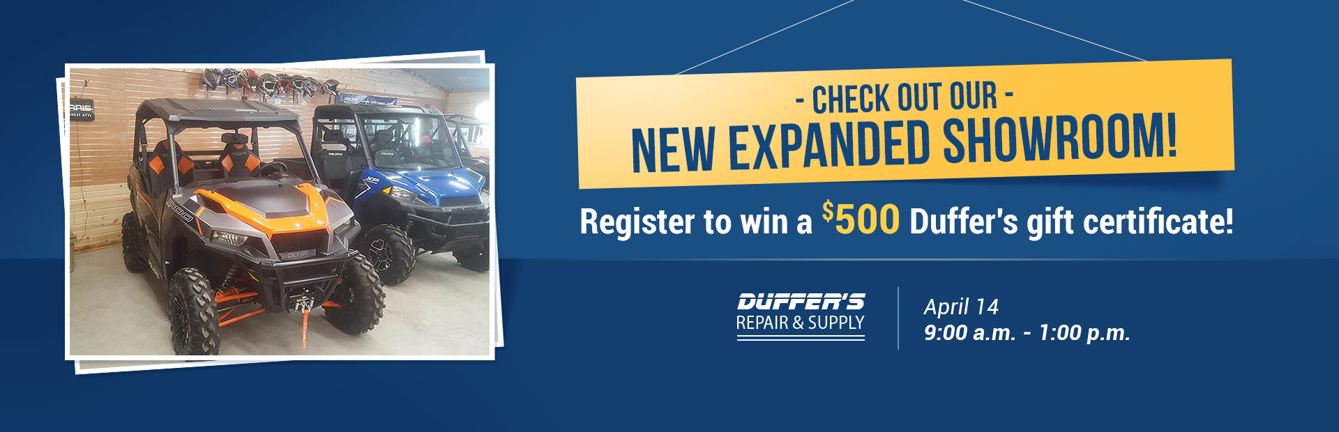 Check out our new expanded showroom on April 14 and register to win a $500 Duffer's gift certificate!