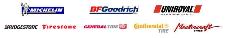 We proudly carry products from Michelin®,  BFGoodrich®, Uniroyal®, Bridgestone, Firestone, General, Continental, and Mastercraft.