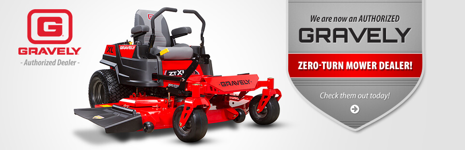 We are now an authorized Gravely zero-turn mower dealer!