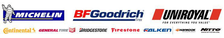 We carry products from Michelin®, BFGoodrich®, Uniroyal®, Continental, General, Bridgestone, Firestone, Falken, Hankook, and Nitto.