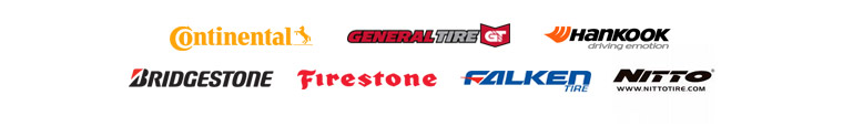 We carry products from Continental, General, Hankook, Bridgestone, Firestone, Falken, and Nitto.