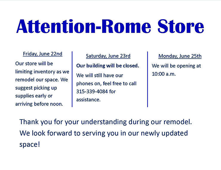 Attention Rome Store Remodel