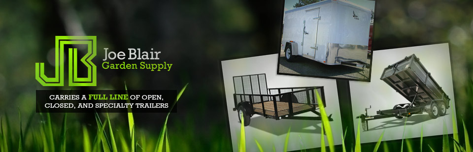 JB Garden Supply carries a full line of open, closed, and specialty trailers!