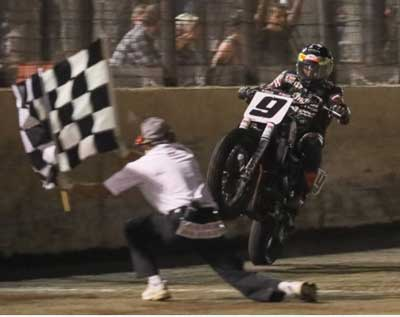 Champion Jared Mees checkered flag