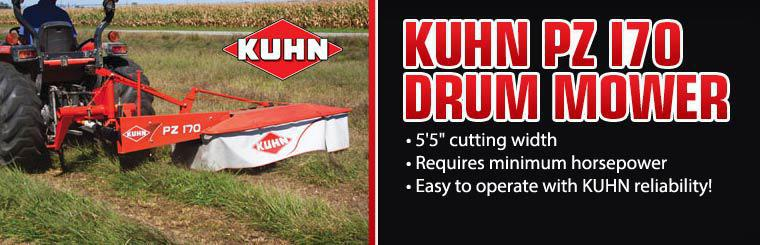 The KUHN PZ 170 drum mower has a 5'5'' cutting width, requires minimum horsepower, and is easy to operate with KUHN reliability!