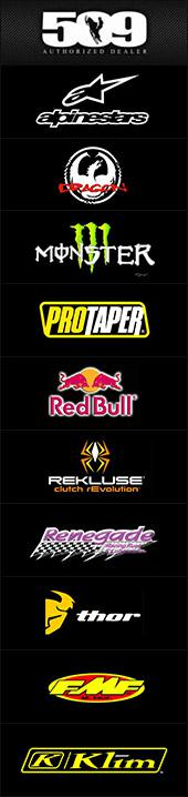 509, Alpinestars, Dragon, Monster, Protaper, Red Bull, Rekluse, Renegade, Thor, FMF, and Klim.