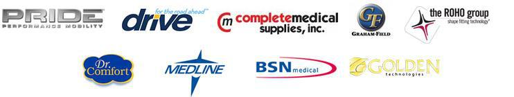 We carry products from Pride, Drive, Complete Medical Supplies, Graham Field, The ROHO Group, Dr. Comfort, Medline, BSN Medical, and Golden Technologies.