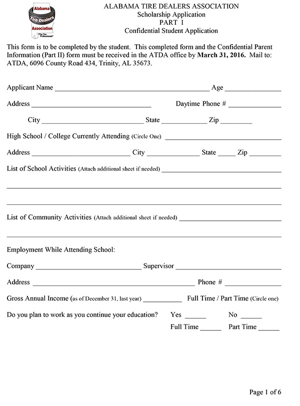 Scholarship application alabama tire dealers association trinity al scholarship application altavistaventures Image collections