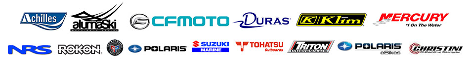 We carry products from Achilles, Alumaski, CFMOTO, Duras, Klim, Mercury, NRS, Rokon, Pitster Pro, Polaris, Suzuki, Tohatsu, Triton, Polaris eBikes and Christini.