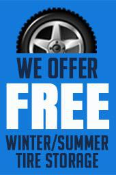 We offer FREE winter/summer tire storage.