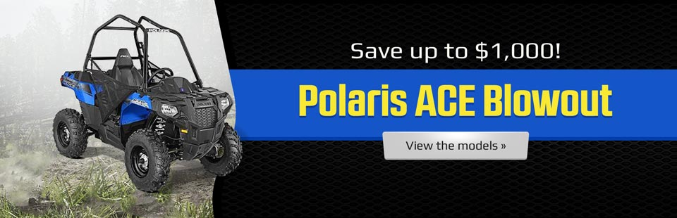 Polaris ACE Blowout: Save up to $1,000! Click here to view the models.