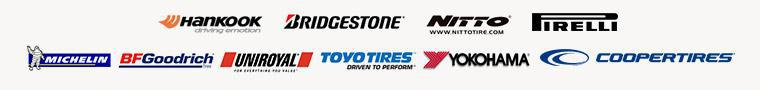 We carry products from Hankook, Bridgestone, Nitto, Pirelli, Michelin®, BFGoodrich®, Uniroyal®, Toyo, Yokohama, and Cooper.
