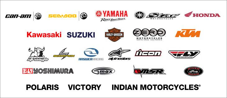 We carry products form Can-Am, Sea-Doo, Yamaha, Star Motorcycles, Honda, Kawasaki, Suzuki, Harley-Davidson®, Zero Motorcycles, KTM, Speed Strength, Scorpion Exo, Answer, Icon, Fly Racing, Yoshimura, GMax, MSR River Road, Polaris, Victory, and Indian Motorcycles®.