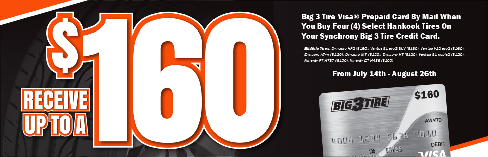 Receive up to a $160 Visa Prepaid Card when you purchase 4 select Hankook Tires
