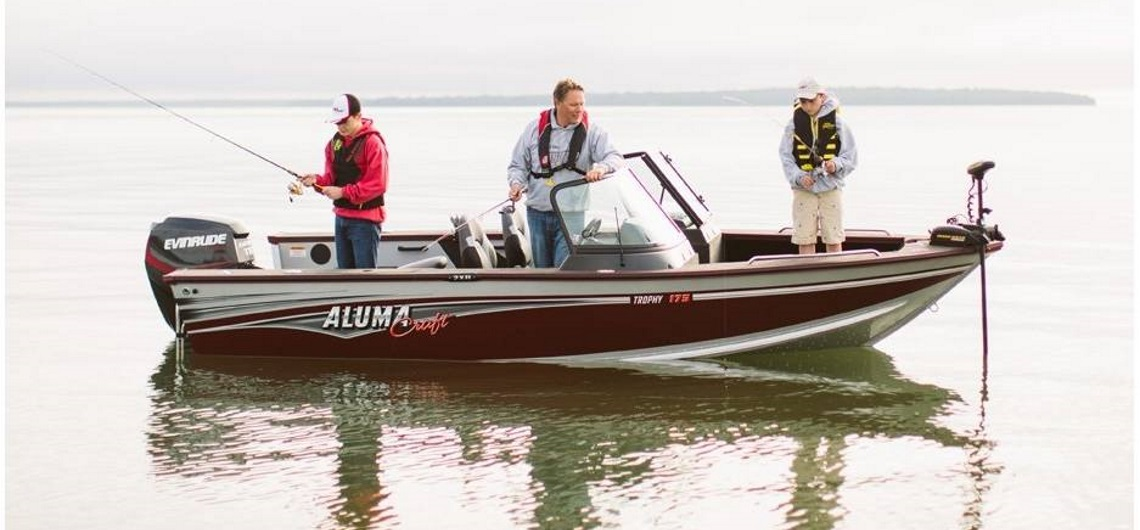 3 men fishing on a 2019 Alumacraft