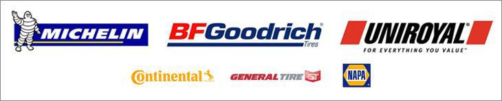 We proudly carry products from Michelin®, BFGoodrich®, Uniroyal®, Continental, General, and NAPA.