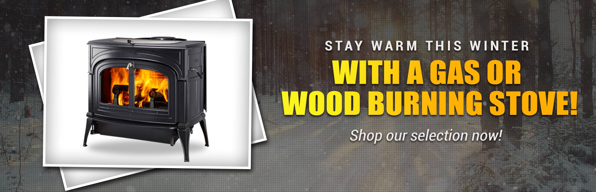 Stay warm this winter with a gas or wood burning stove! Shop our selection now!