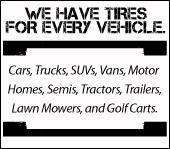 We have tires for every vehicle.