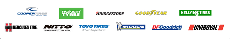 We carry products from Cooper, Nokian, Bridgestone, Goodyear, Kelly, Hercules, Nitto, Toyo, Michelin®, BFGoodrich®, and  Uniroyal®.
