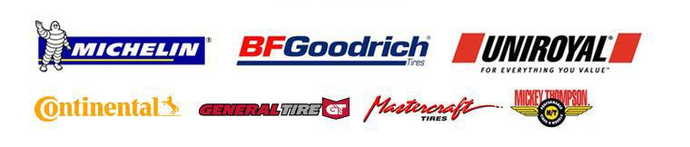 We carry products from Michelin®, BFGoodrich®, Uniroyal®, Continental, General, Goodyear, Kelly, Dunlop, and Mastercraft.