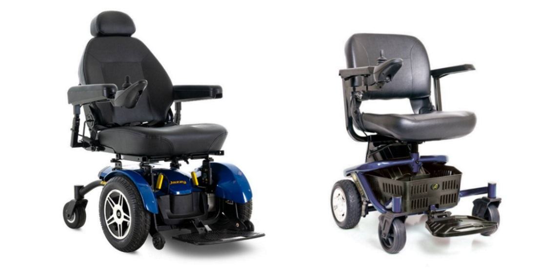 a Jazzy Elite® 14 and a Literider Envy Wheelchairs
