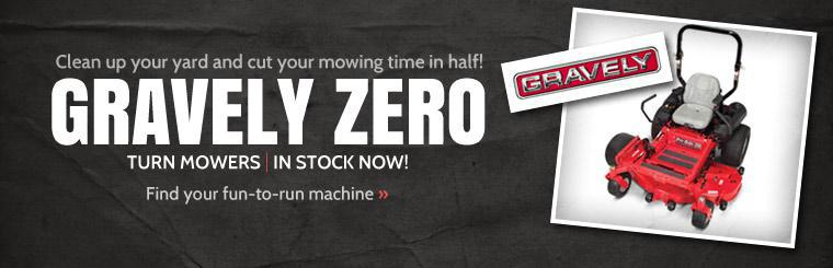 Clean up your yard and cut your mowing time in half! Gravely zero turn mowers are now in stock! Click here to find your fun-to-run machine.
