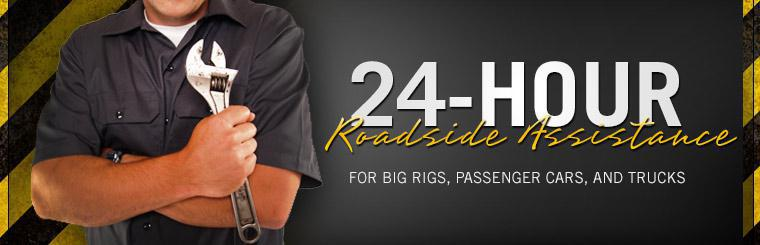 We offer 24-hour roadside assistance for big rigs, passenger cars, and trucks!