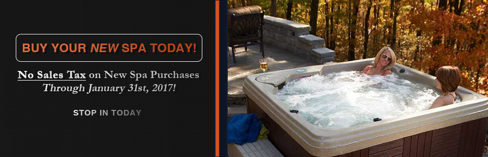 Buy your new spa today and pay no sales tax on new spa purchases through January 31st, 2017! Contact us for details.